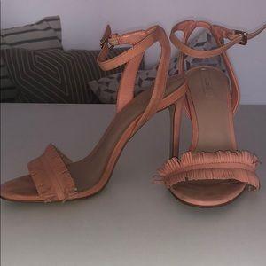 Coral Fringe Heeled Sandals